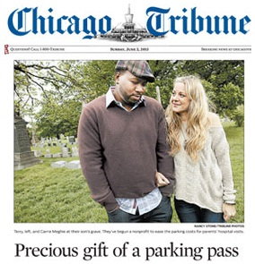 The parents that founded the Jackson Chance Foundation, here pictured on the cover of the Chicago Tribune.
