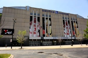 The Bulls decorated the United Center in hopes of landing free agent Carmelo Anthony